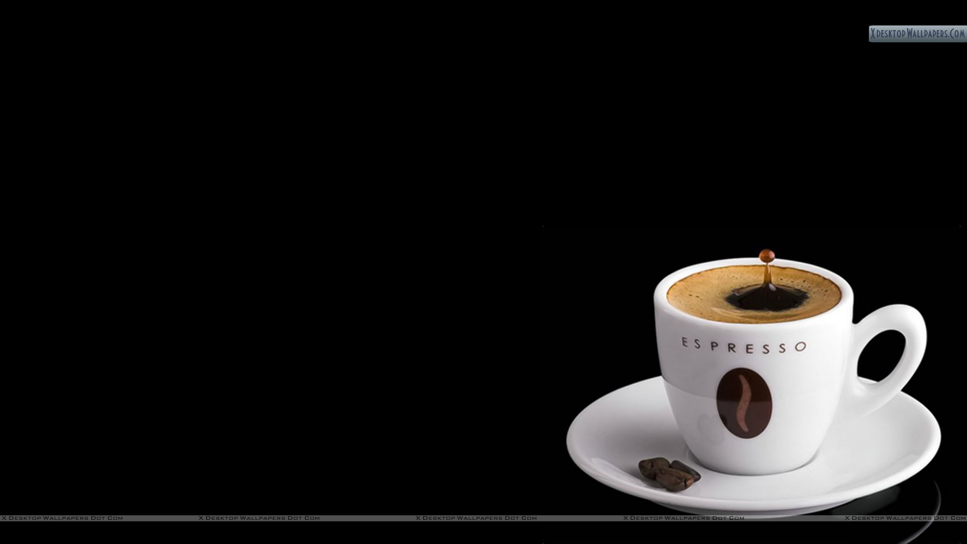 Espresso Coffee In White Cup With Beans Wallpaper 1920x1080