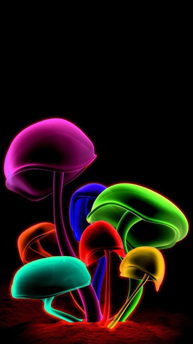 3D Color Mushroom iPhone 6 Wallpapers HD 750x1334