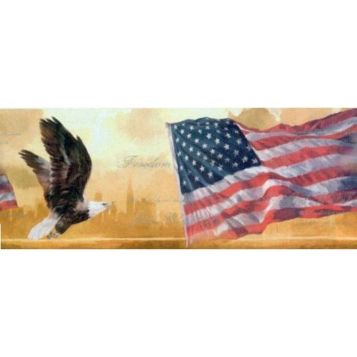American Flag and Eagle Wallpaper Border 500x500