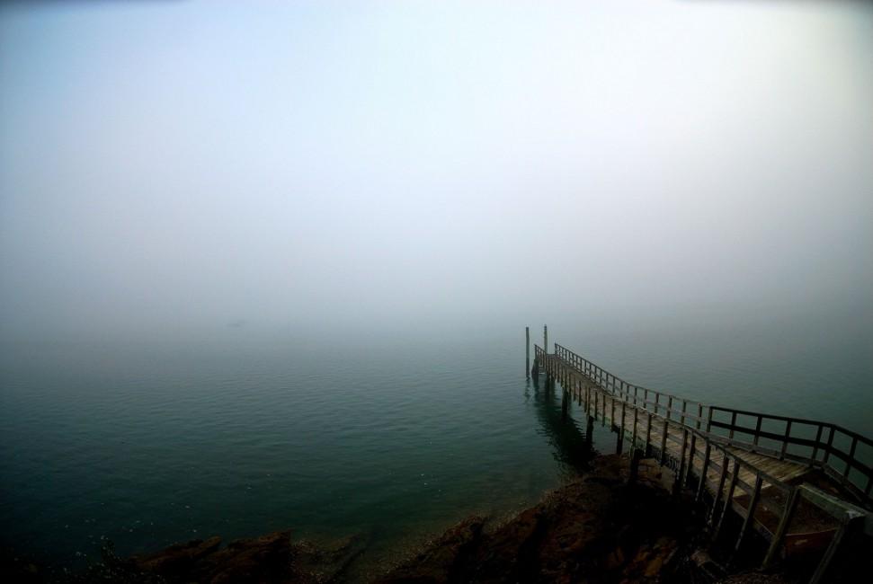 Pier Lake Descent Uncertainty Fog   Stock Photos Images HD 971x650