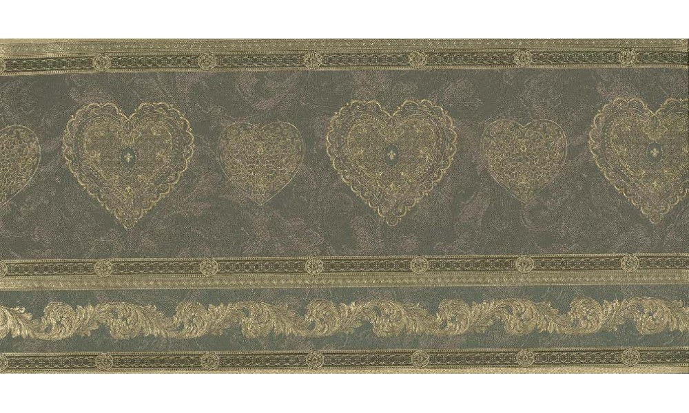 Home Gold Scrolls Molding HEARTS Wallpaper Border 1000x600