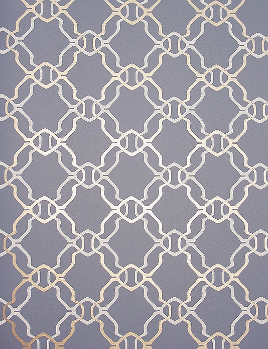 dark blue grey wallpaper with geometric design in off white and gold 534x694