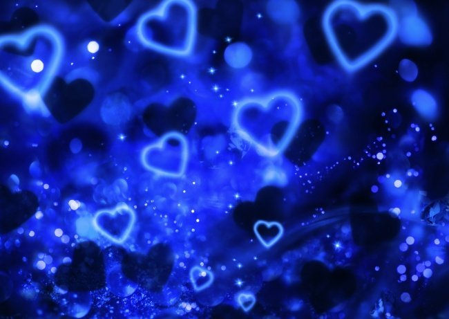 wallpaper rain blue hearts - photo #2