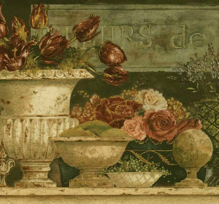 Wallpaper Border Antique French Country Floral in Vases Pitchers 717x668