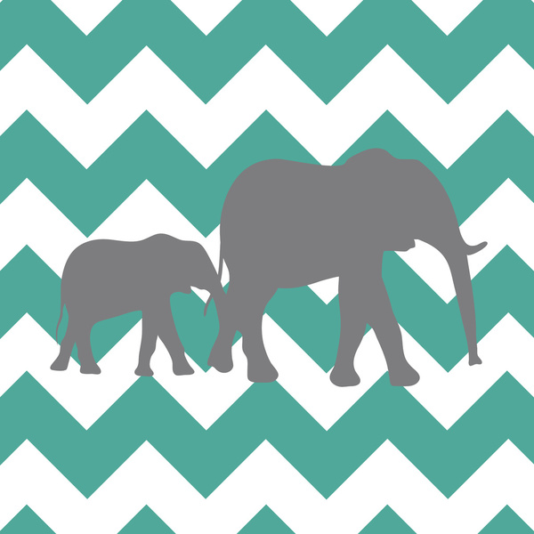 teal and grey stretched canvas by gathered chevron elephants teal and 600x600