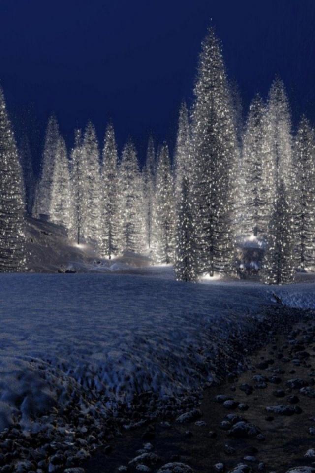 Snowy Christmas Scenes Wallpaper