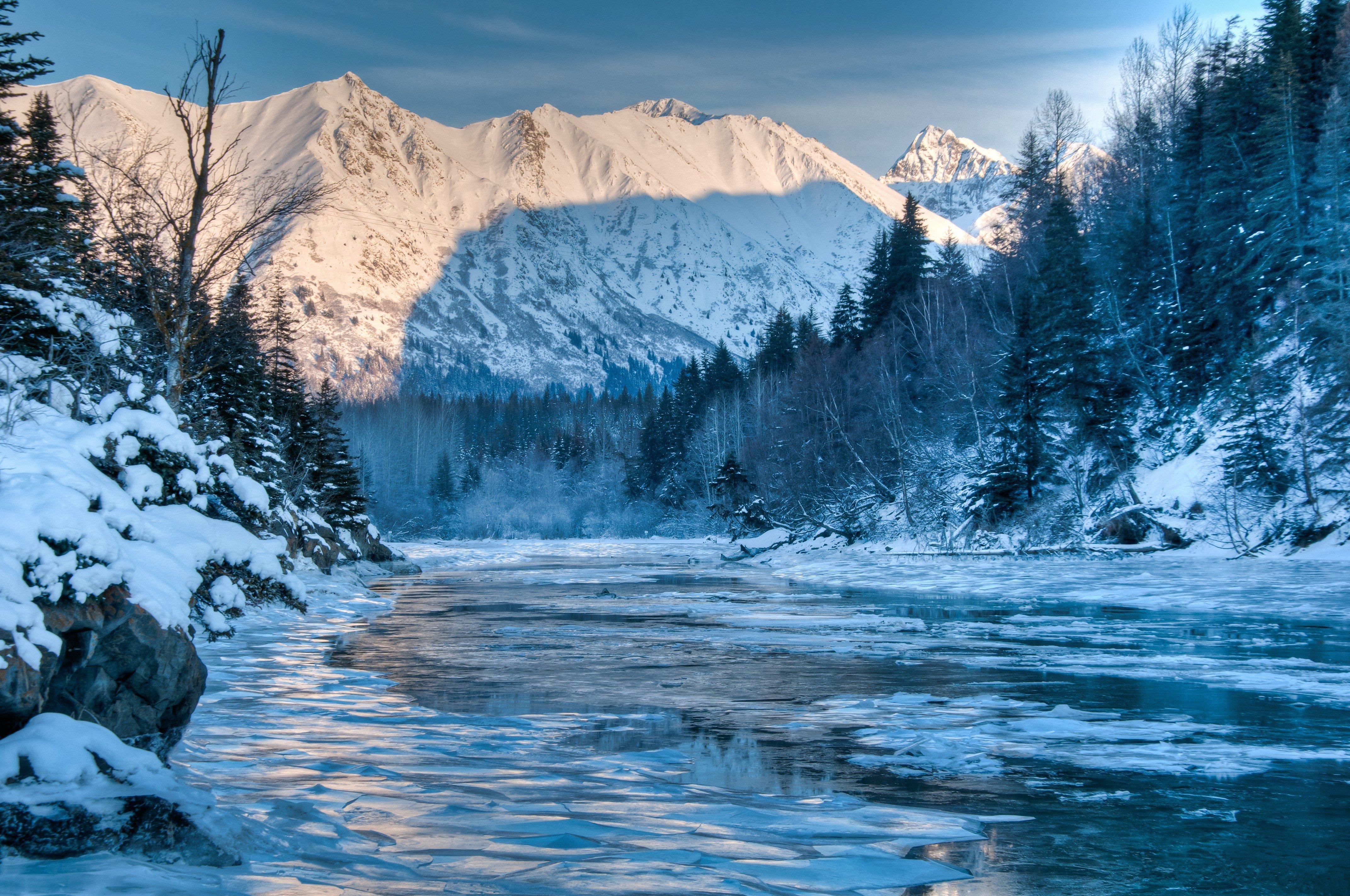 Alaska river winter mountain forest landscape wallpaper 4287x2847 4287x2847