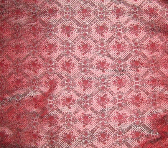 Red and Blue Victorian Wallpaper Silk Brocade Fabric by silkfabric 570x502
