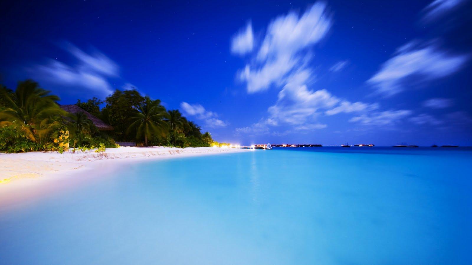 Maldives at night download HD wallpapers for desktop 1600x900