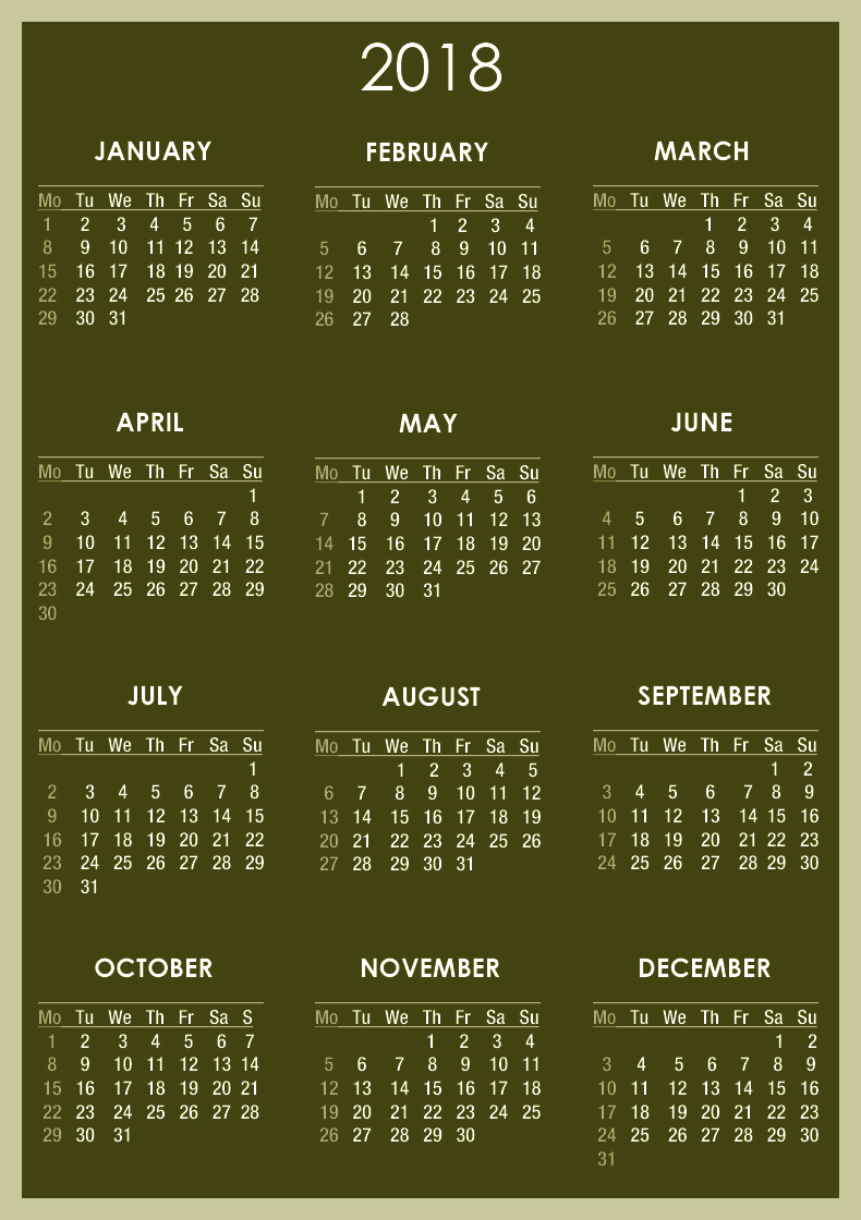 Download calendar 2018   2018 Calendar printable for 790x1120