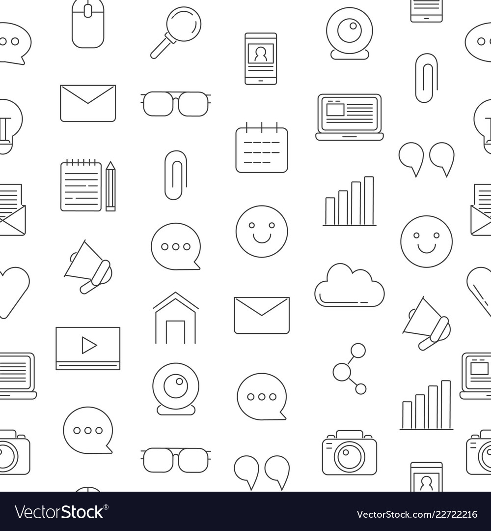 Line blog icons pattern or background Royalty Vector 1000x1080