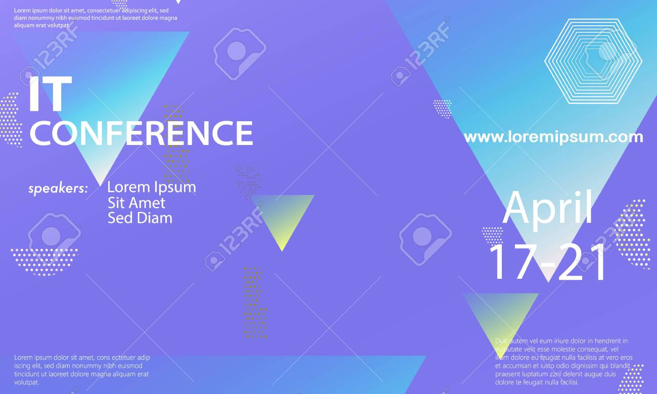 Conference Announcement Design Template Flyer Layout Geometric 1300x780