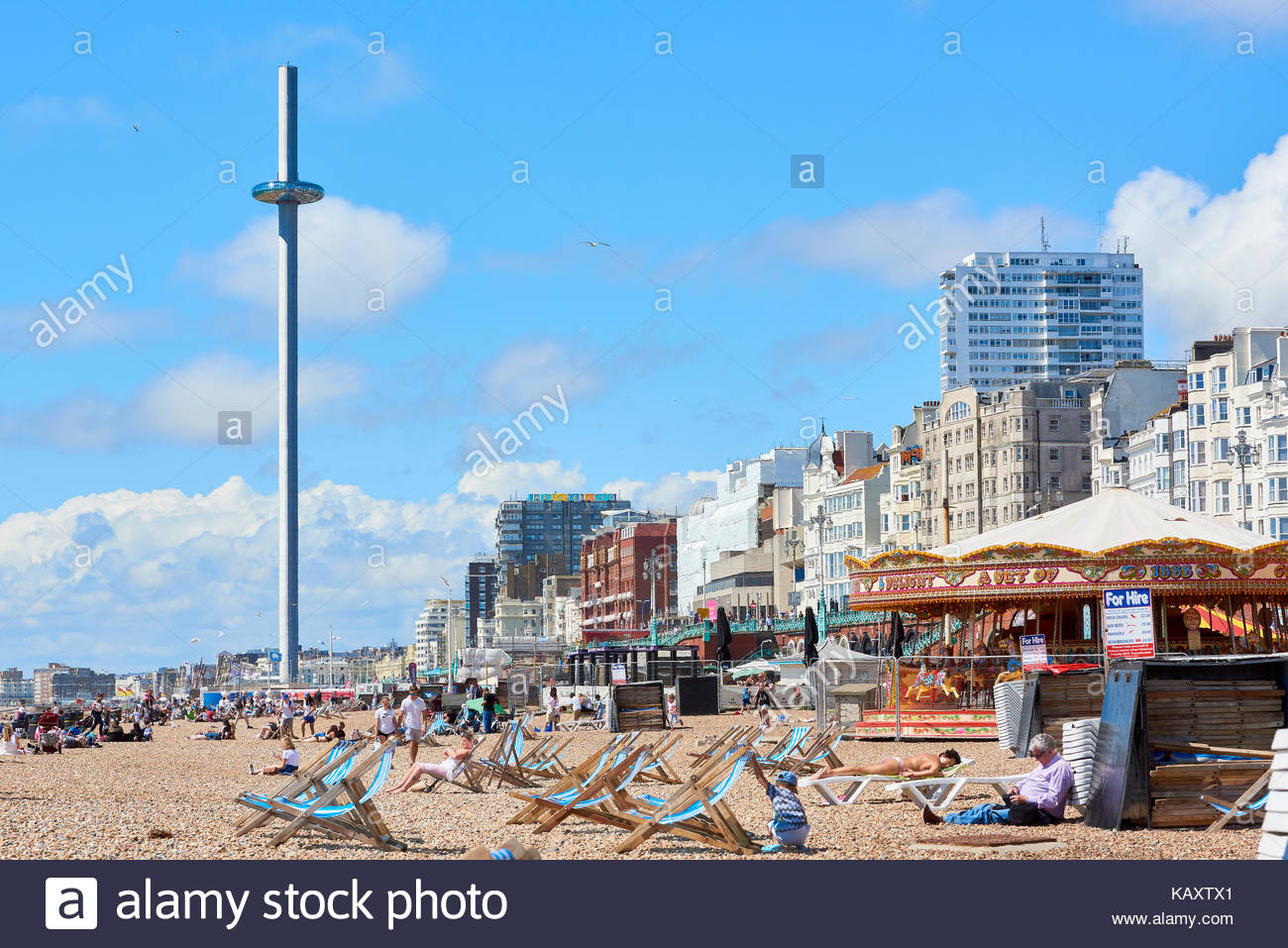 Beachgoers enjoy the sun in Brighton with British Airways i360 1300x957