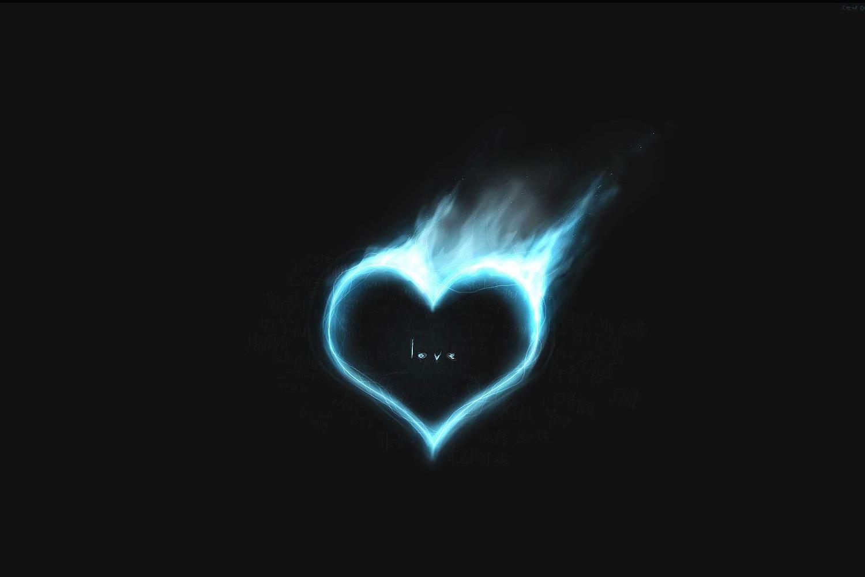Blue Love Fire Burning Heart In Blue Flame HD Wallpaper   Love 1500x1000