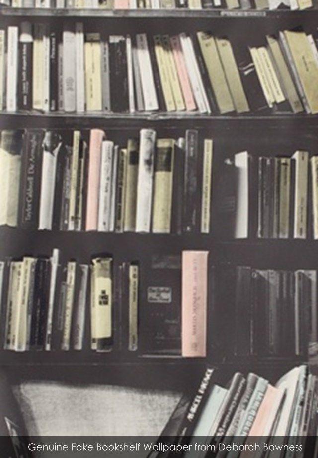 Genuine Fake Bookshelf Wallpaper From Deborah Bowness 640x920