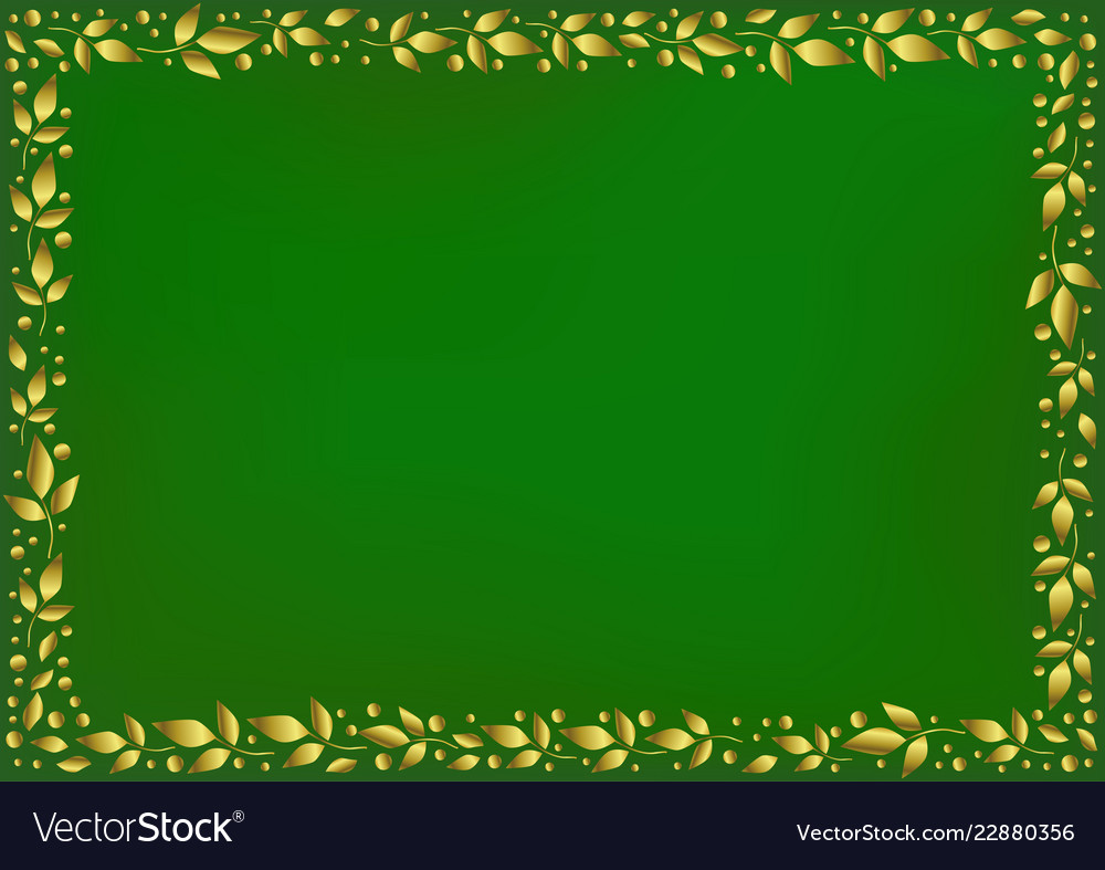 Green background with border of golden leaves Vector Image 1000x787