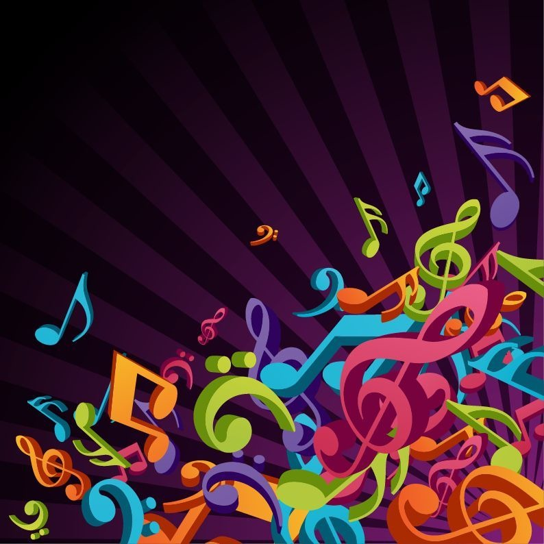 3D Colorful Music Vector Background Vector Graphics All 794x794