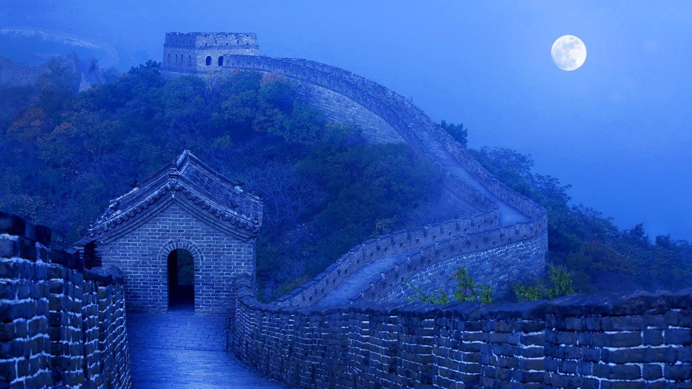 Night on the Great Wall pics 1366x768