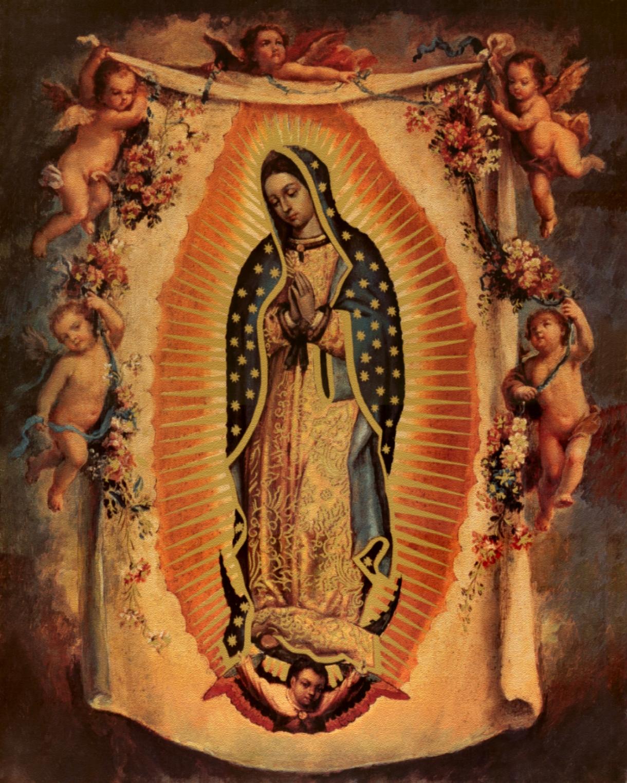 Mexican Virgin Mary Art With cherubs version 2 1220x1525