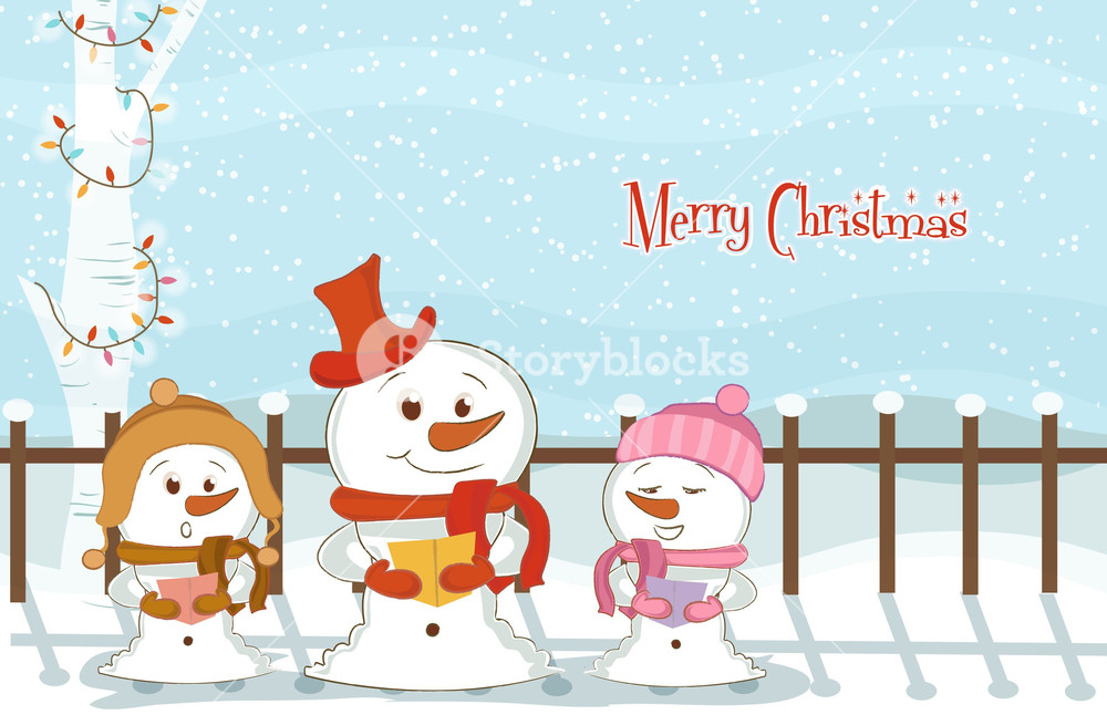 Vector Christmas Background With Snowmen Royalty  Stock Image 1000x655
