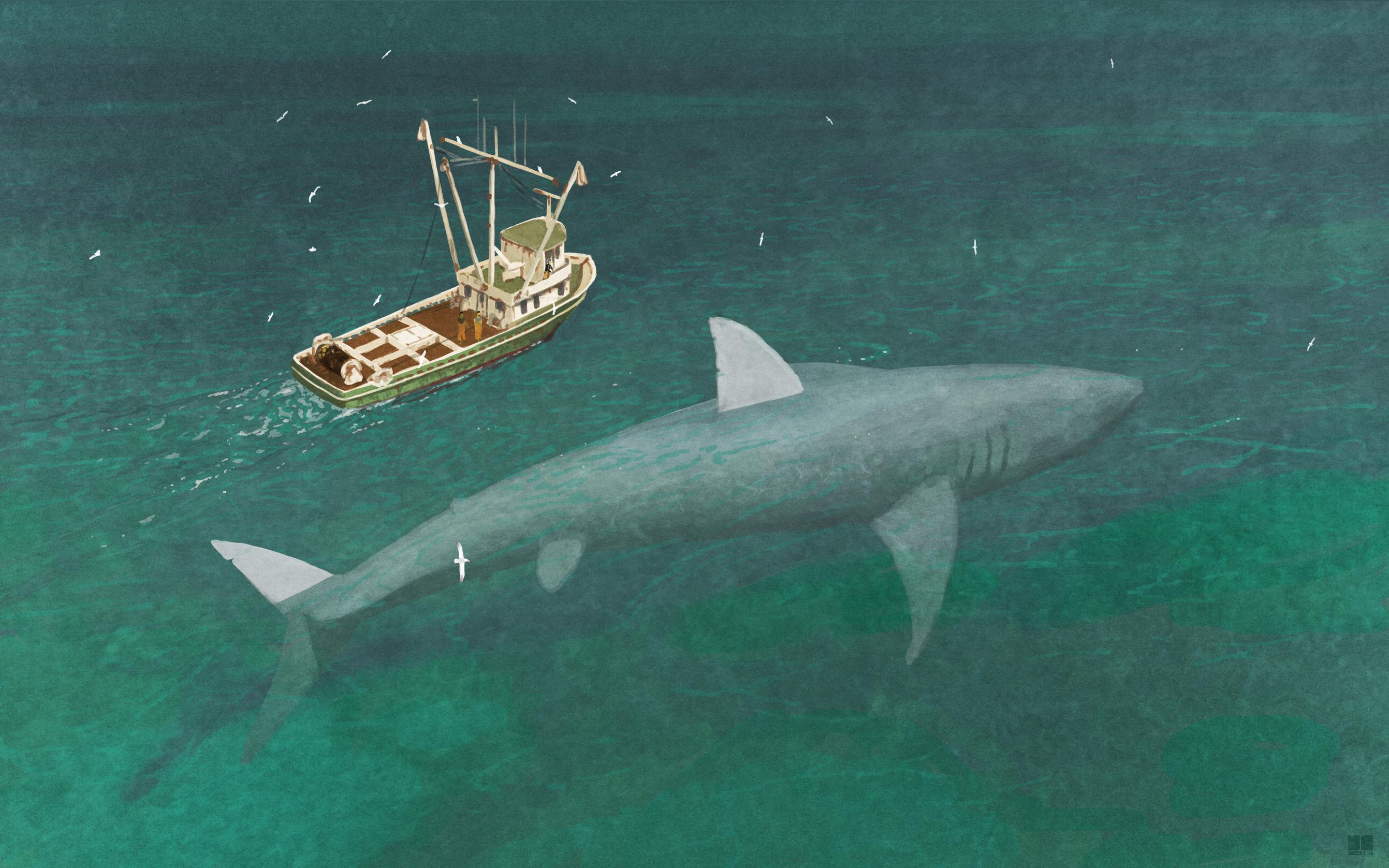 Megalodon next to Ship Wallpaper HD Sharks Ship Hd To 2683x1677