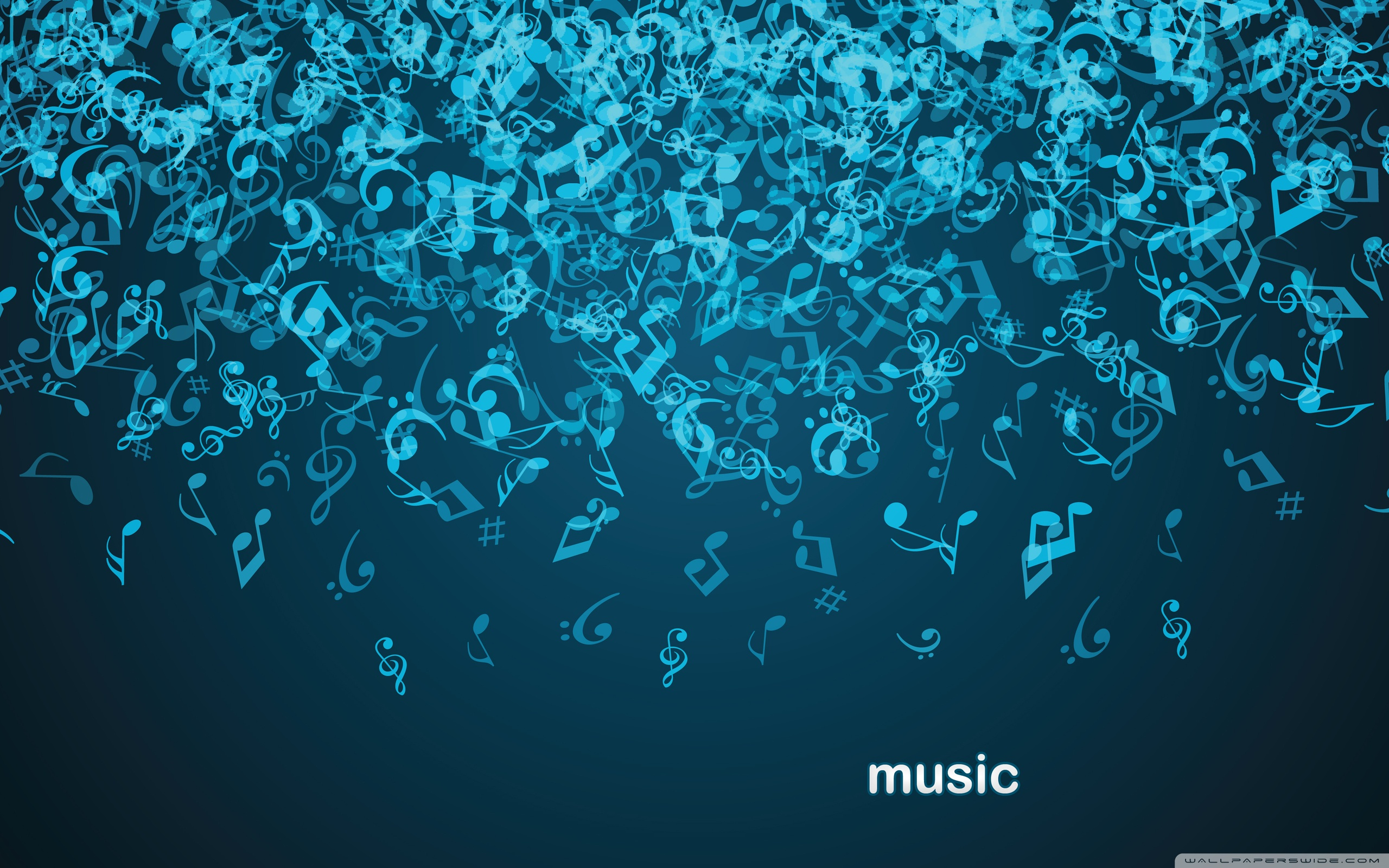 Cute Music Note Wallpaper: Blue Music Notes Wallpaper
