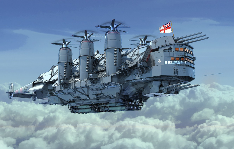 Wallpaper The sky The ship Art Fiction Illustration Steampunk 1332x850