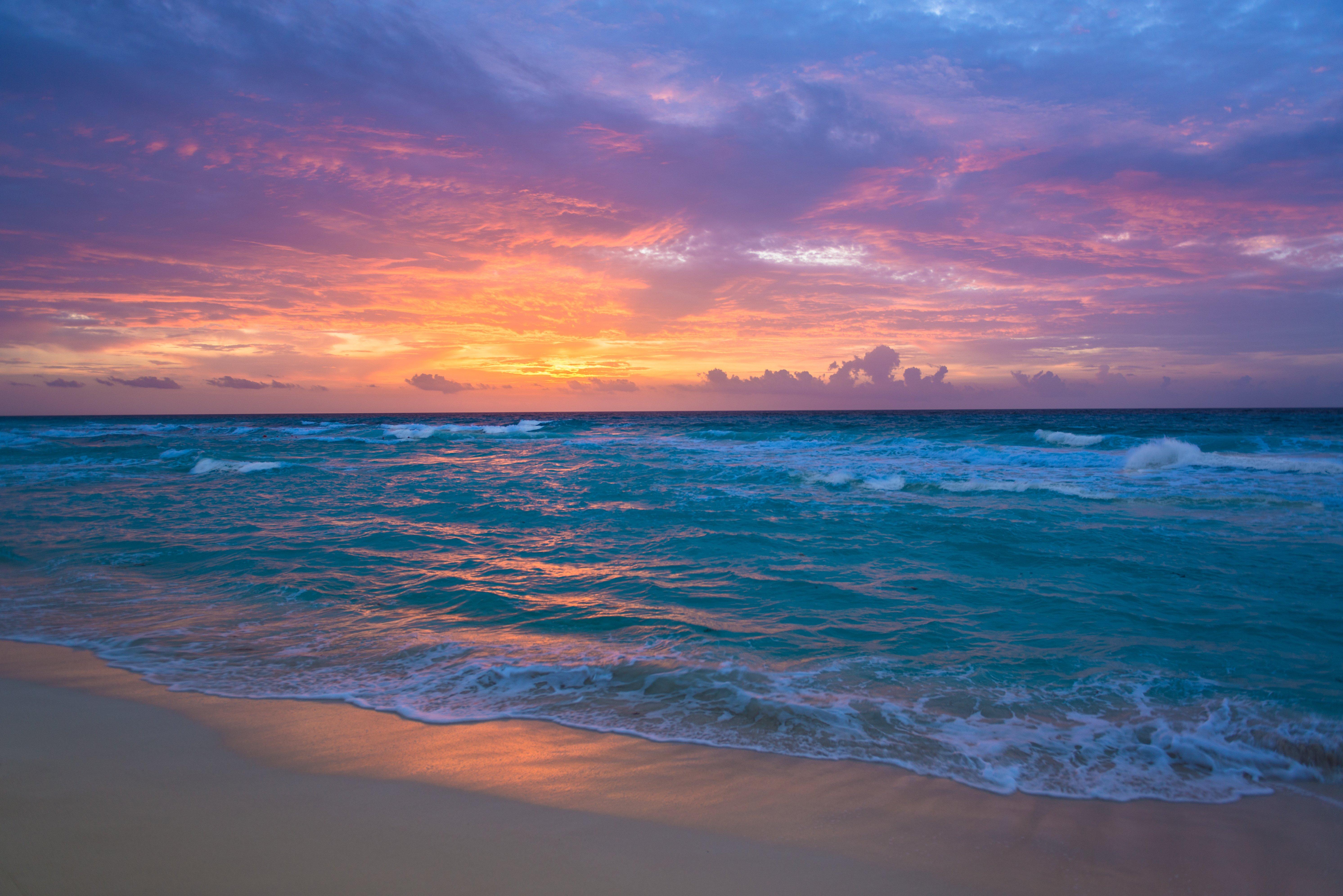 Sea surf sunrise waves sand ocean beach wallpaper 5969x3985 5969x3985