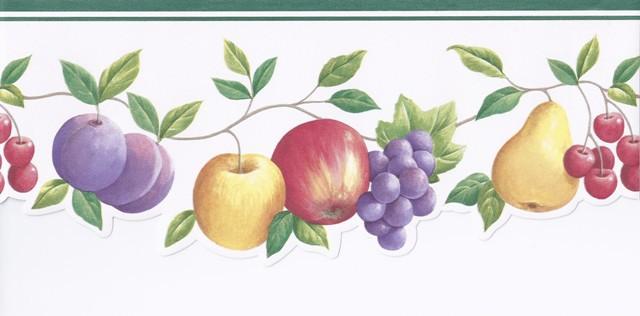 Green White Fruits Wallpaper Border   Kitchen Bathroom 640x316