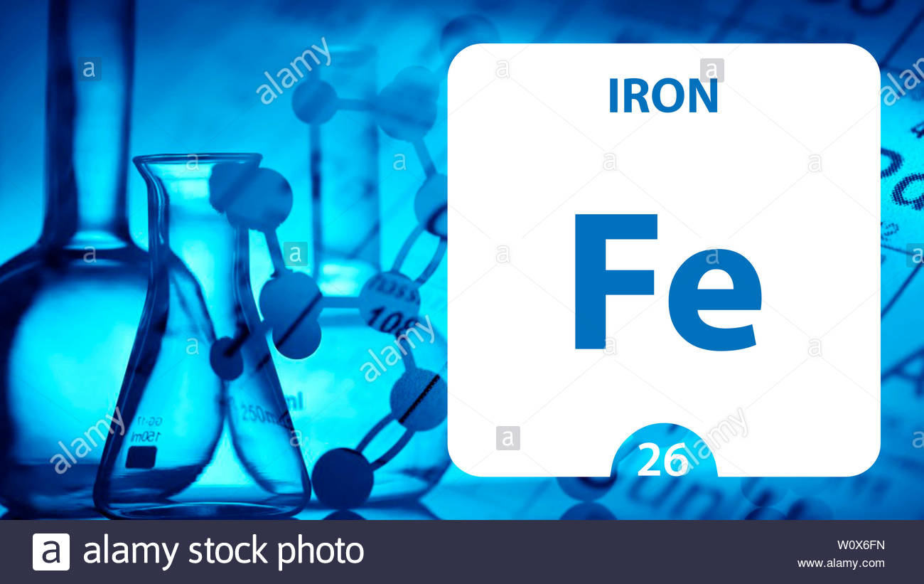 Iron Fe chemical element sign 3D rendering isolated on white 1300x821