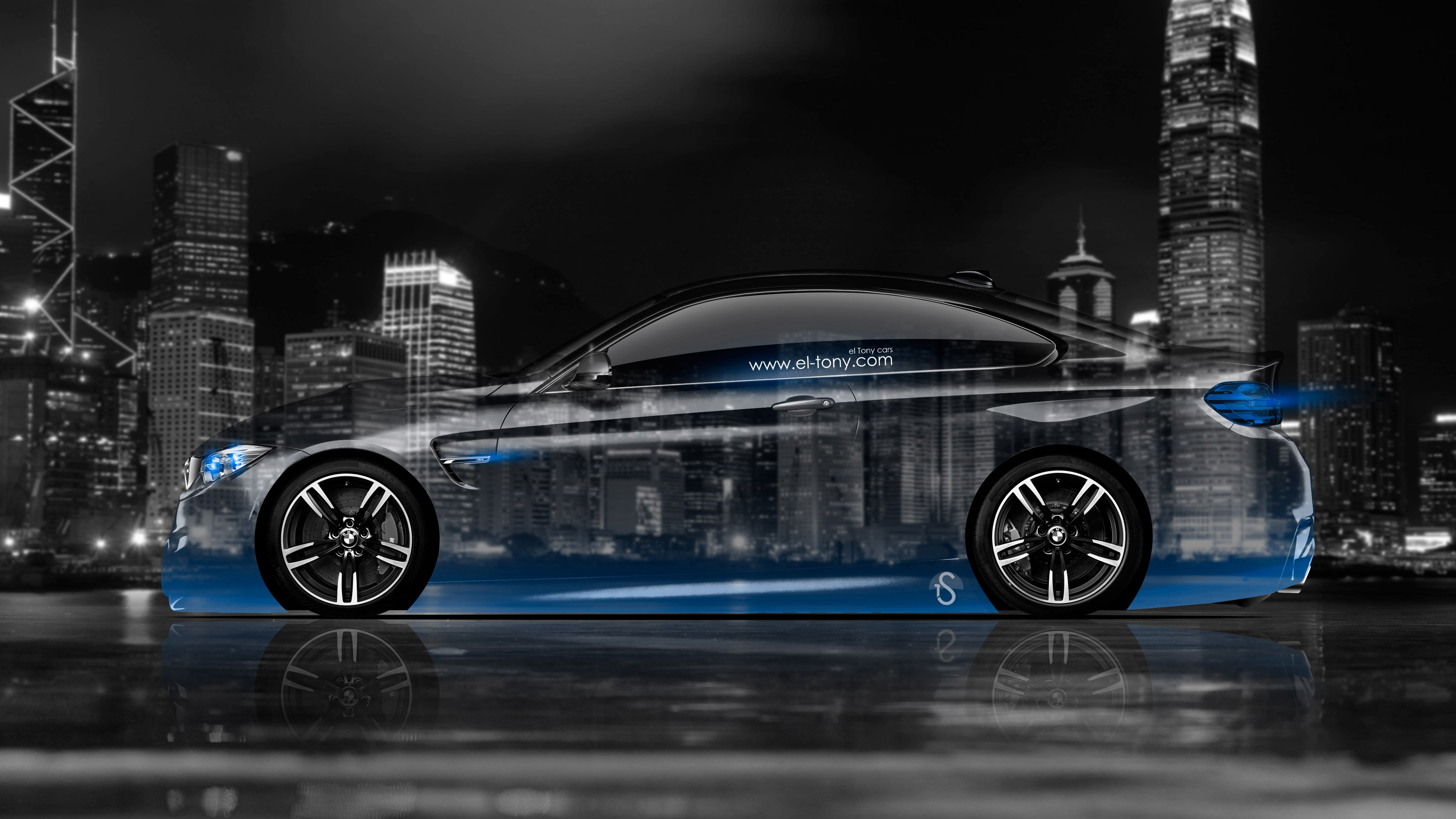 BMW M4 Coupe Side Crystal City Car 2014 Blue Neon 4K Wallpapers Design  3840x2160