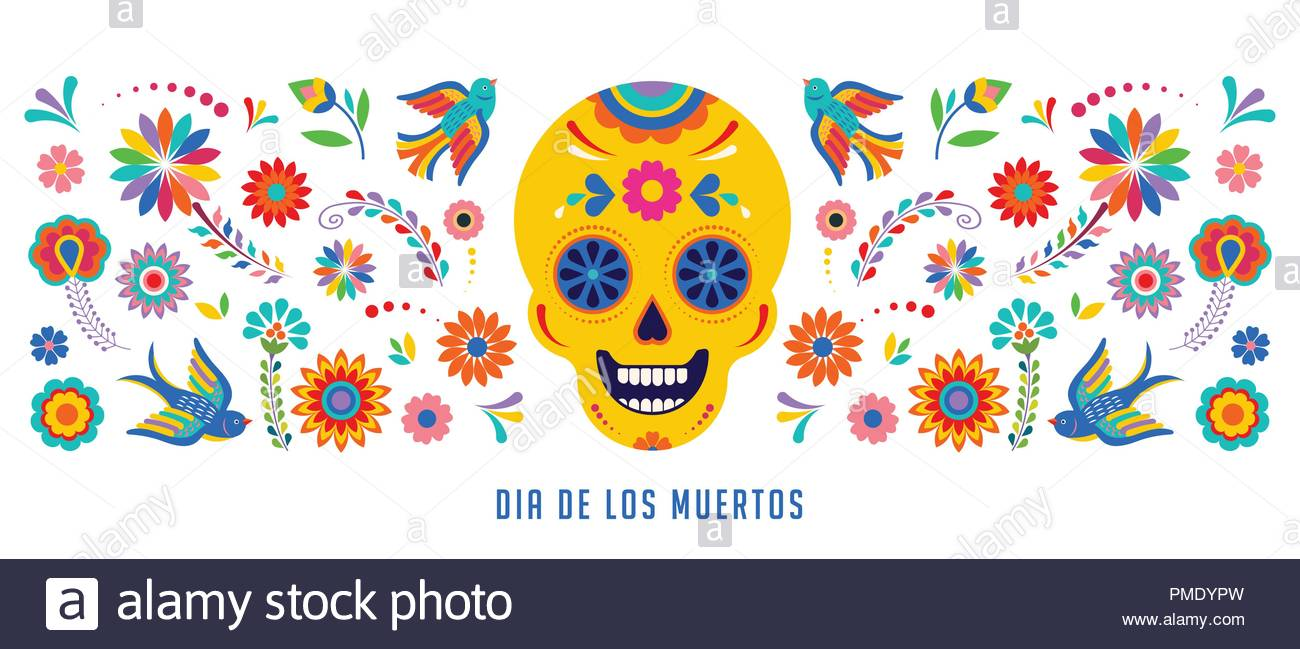 Day of the dead Dia de los muertos background banner and 1300x649