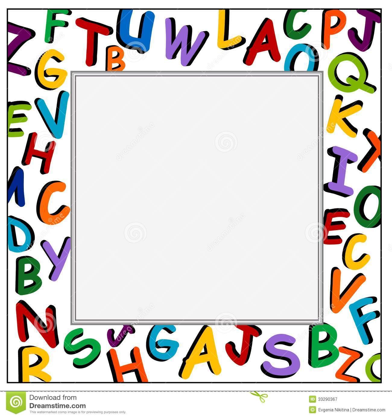 f1232238aa6d Elementary School Border Clip Art Alphabet frame on the white 1300x1386