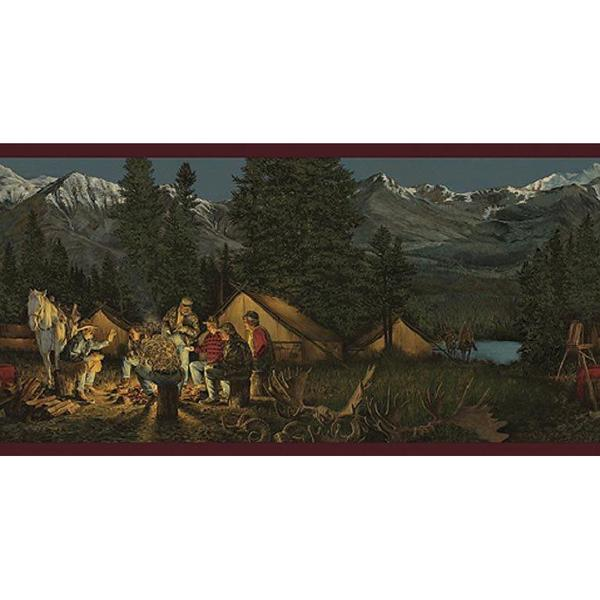 Products Cowboy Campfire Mountain Scene Western Wallpaper Borders 600x600
