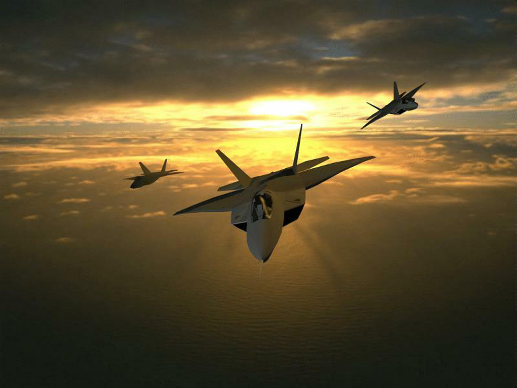 Three F 22 Airplane Sunset Wallpaper Wallpaper 1024x768