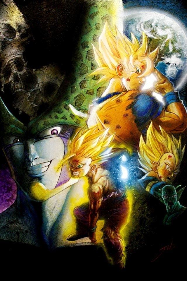 Goku Gohan and cell wallpaper art Manga Pinterest 640x960