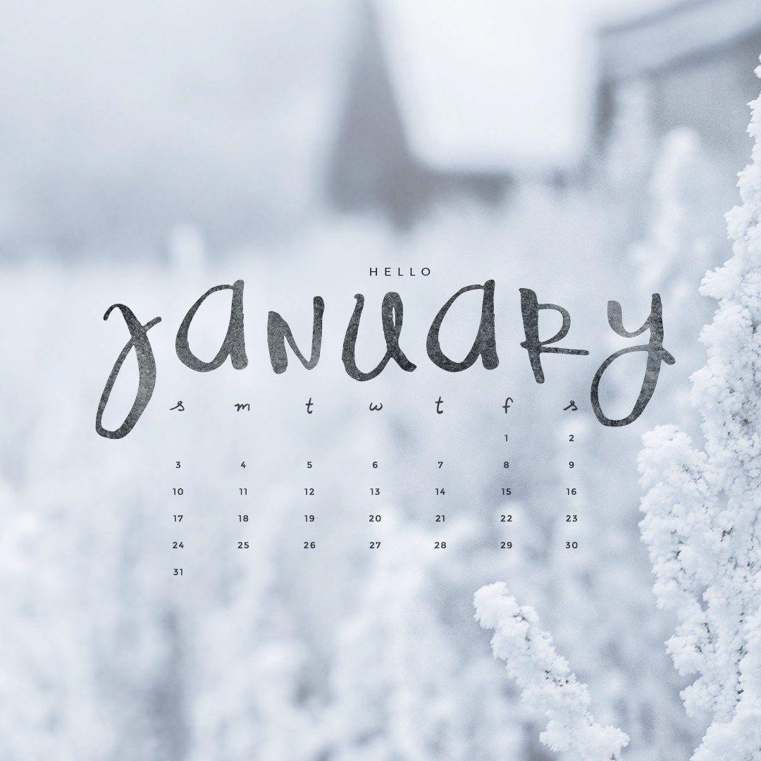 Hello January Downloadable Calendar Freebie Dream house 1080x1080