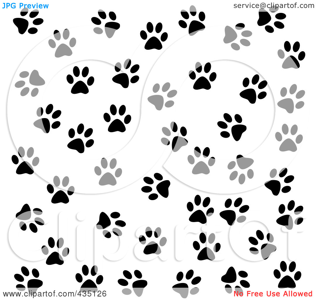 Illustration of a Black And White Dog Paw Print Pattern by jkerrigan 1080x1024