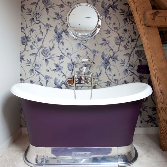 Small purple bathroom Bathroom wallpapers housetohomecouk 550x550