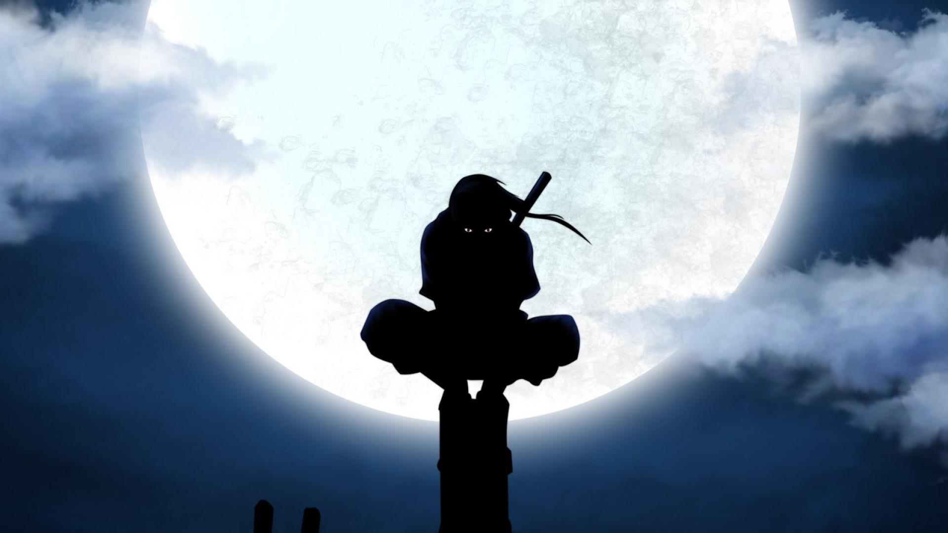 Uchiha Itachi ANBU Silhouette Moon Anime Utility Pole 1920x1080