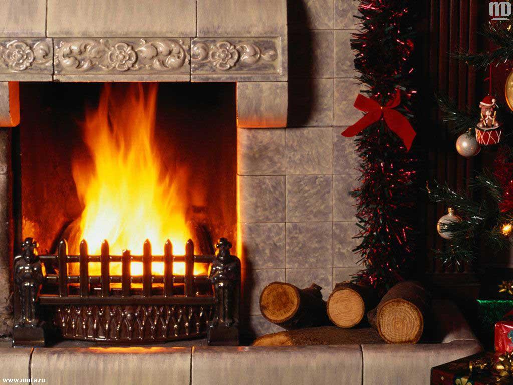Wallpaper fire new year christmas fireplace Christmas Fireplace 1024x768