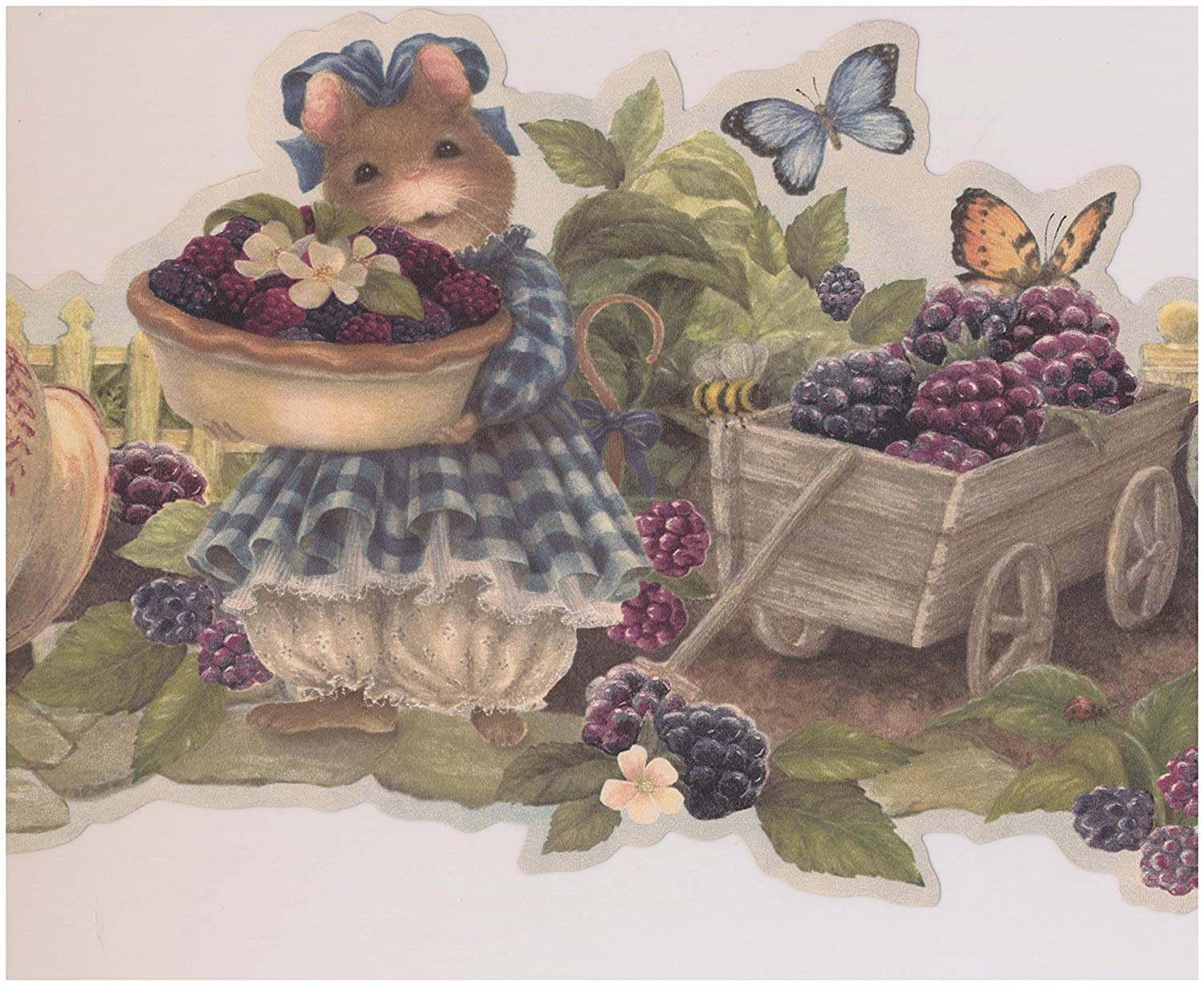 Mouse Offering Berries Farmhouse Wallpaper Border Retro Design 1500x1229