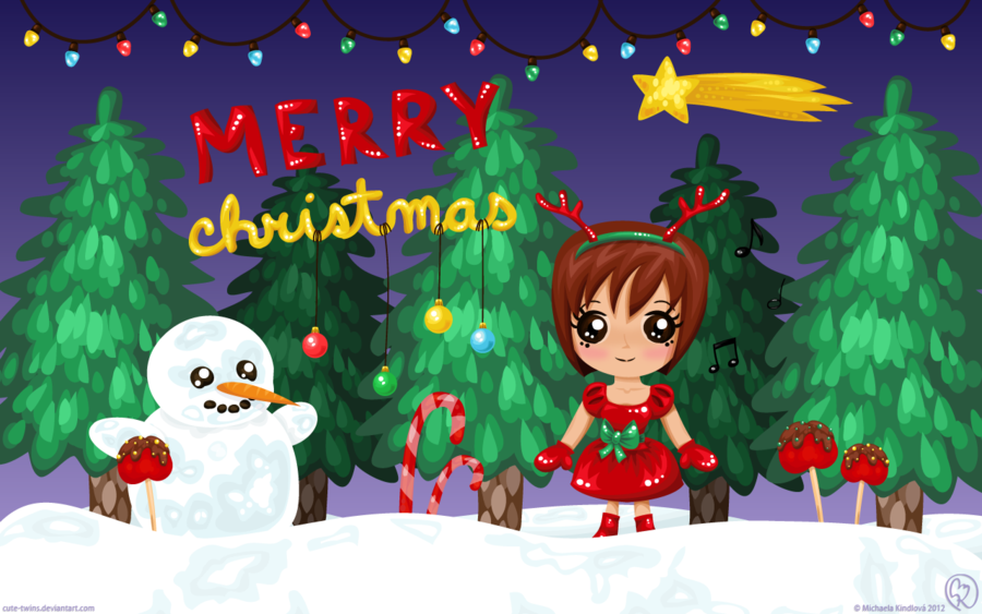 Free Download Merry Christmas Wallpaper By Cute Twins
