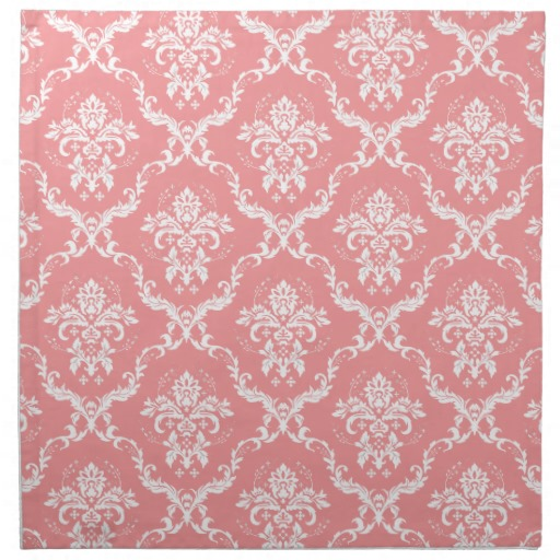 White and Pink Floral Damask Napkins Zazzle 512x512