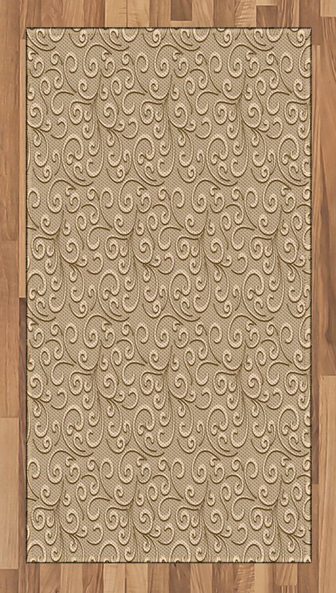 Amazoncom Ambesonne Beige Area Rug Floral Swirls Damask Pattern 669x1181