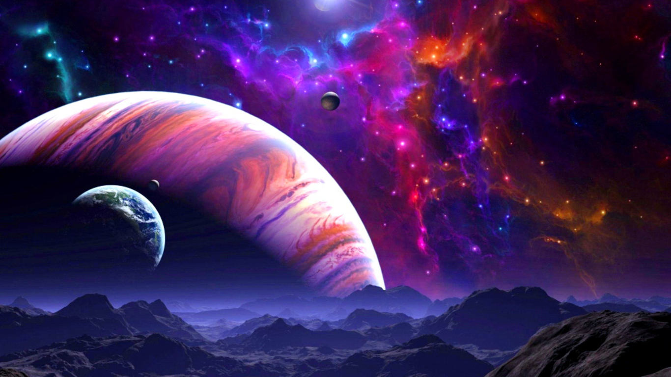 Space Art Desktop Background   PhotosJunction 1366x768