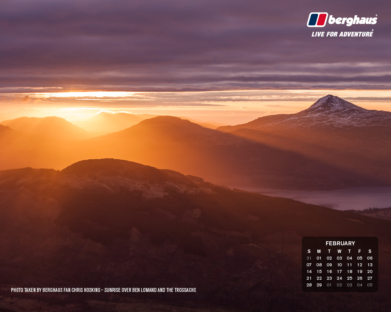February 2016 Desktop Wallpaper Calendar 1280x1024