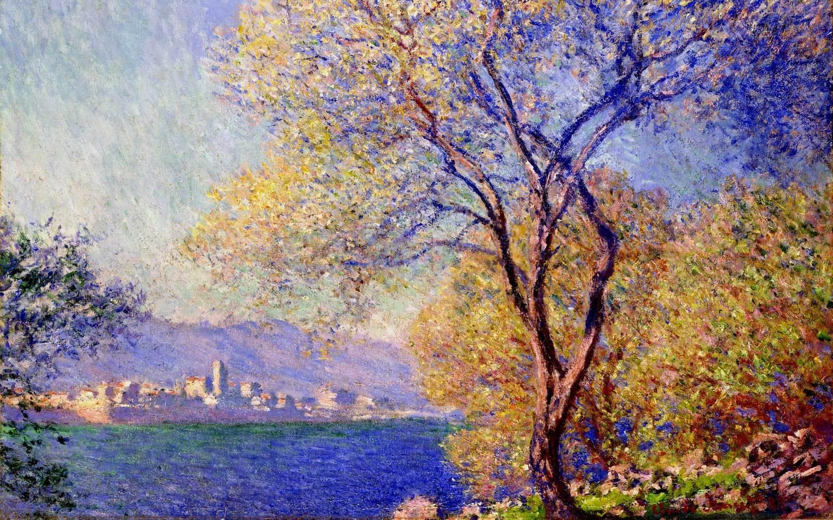 Wallpaper landscape wood painting impressionism Art Wallpaper 1680x1050