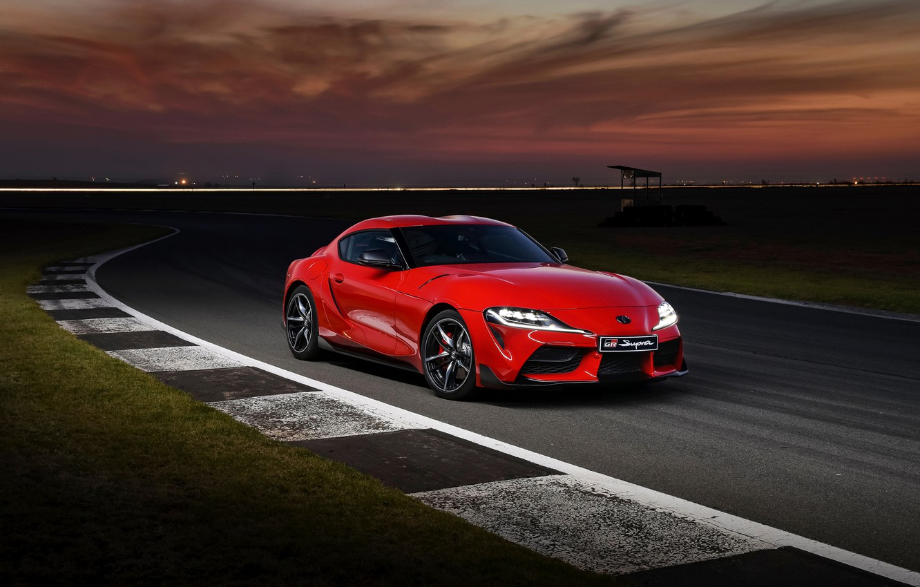 Wallpaper red coupe track the evening Toyota Supra 2019 GR 1332x850