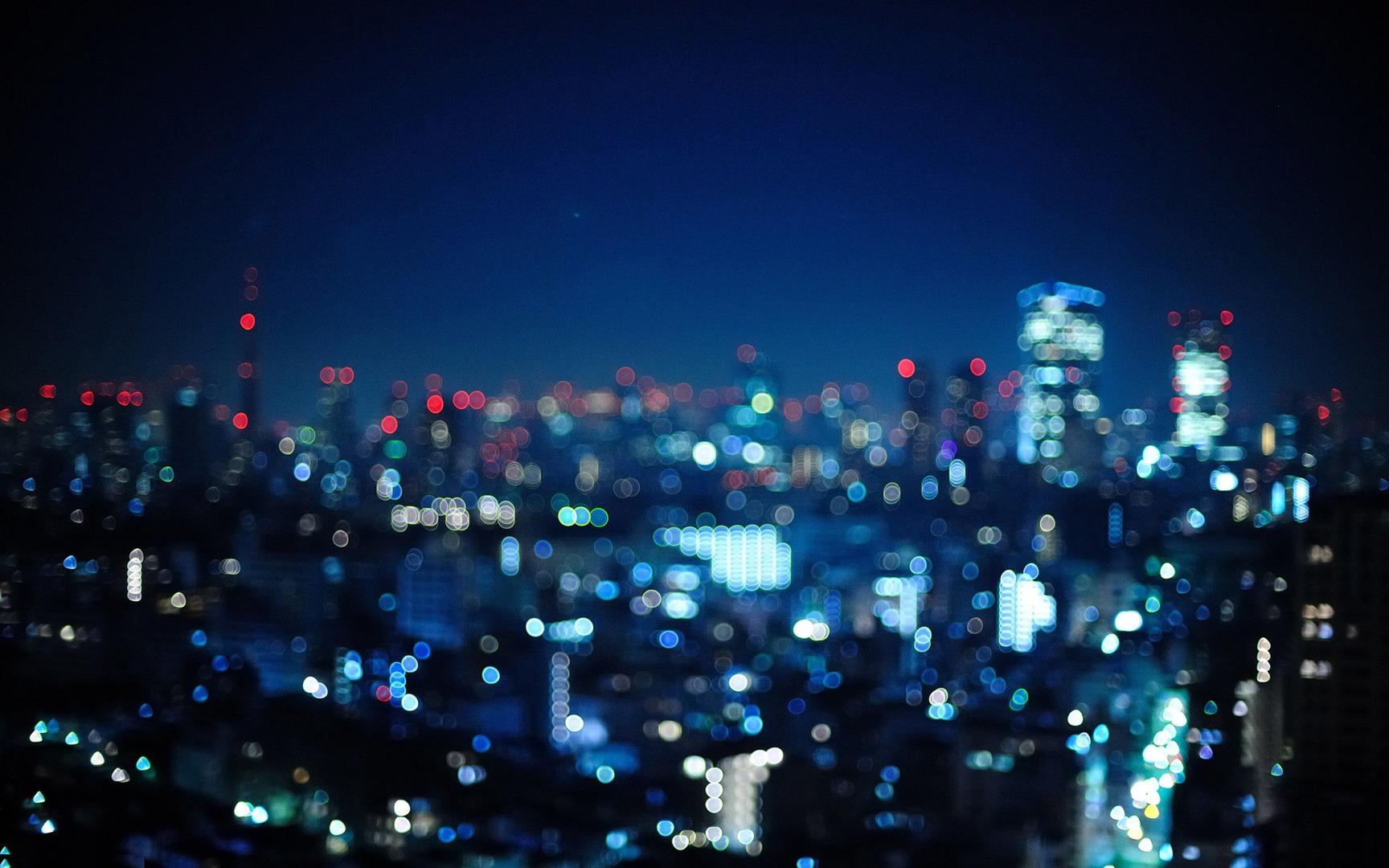 Download Blurry city lights wallpaper 1728x1080